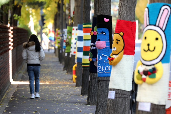 Trees are wrapped with colorful warmers on a street in Gwangmyeong, Gyeonggi, on Wednesday as it gets chilly.  [NEWS1]