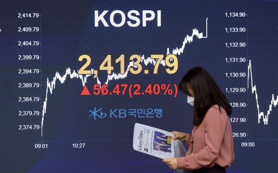 A screen shows the closing figure for the Kospi in a trading room in KB Kookmin Bank in Jung District, central Seoul, on Thursday. [YONHAP]
