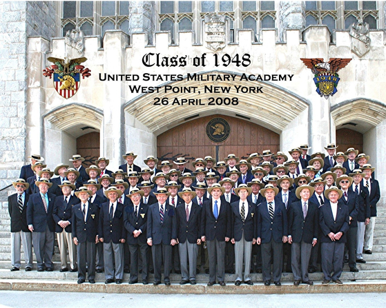 Some of the members of the USMA class of 1948, including Arthur Barondes, in blue tie at front, gathered at the West Point again on April 26, 2008. [USMA CLASS OF 1948]