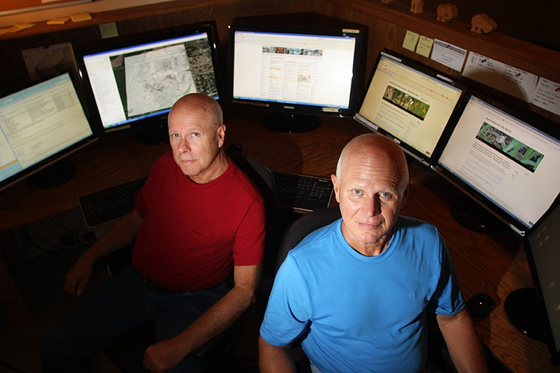 Hal Barker, left, and Ted Barker, founders of Korean War Project website. [HAL BARKER]