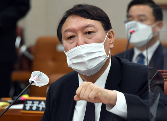 Prosecutor General Yoon Seok-youl speaks at the National Assembly's audit of the prosecution on Oct. 22, 2020.  [YONHAP]