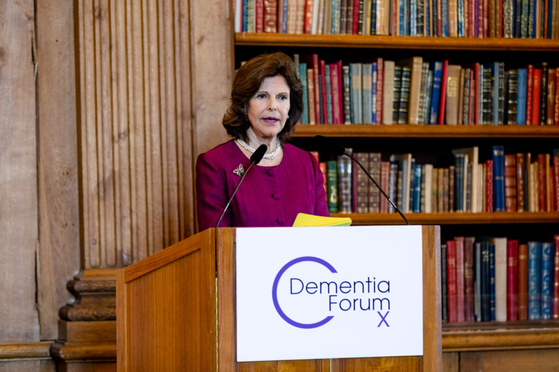 Queen Silvia of Sweden speaking at the Dementia Forum X at the Royal Palace in Stockholm, Sweden, in May 2019. [DEMENTIA FORUM X]