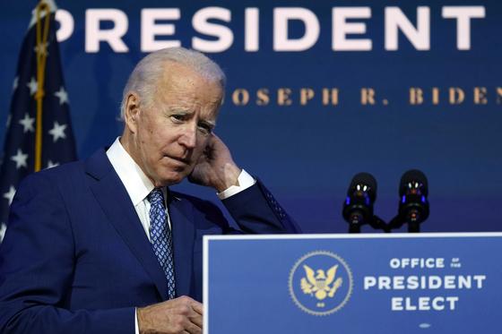 U.S. President-elect Joe Biden arrives to speak Monday, Nov. 9, at The Queen Theater in Wilmington, Delaware. [AP/YONHAP]