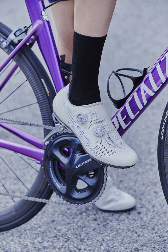 Fila's Synapse cycling shoes created in collaboration with noodle restaurant Paldang Chogye Guksu. [FILA]