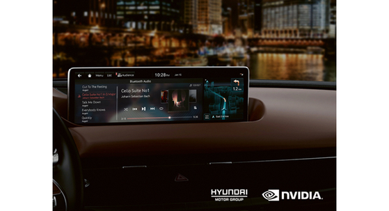 A rendered image shows an in-vehicle system created to mark the collaboration between Hyundai Motor and Nvidia. [Hyundai Motor]