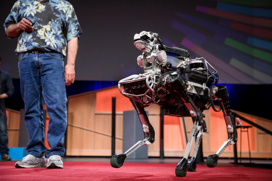 Boston Dynamics' mobile robot SpotMini during a TED talk in July 2017. [TED]