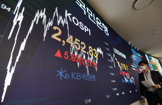 An electronic board at KB Kookmin Bank in Yeouido, western Seoul, shows the Kospi closing at 2,452.83 on Tuesday. Not only did it beat this year's record set on Monday, it is the highest in nearly two and a half years as a result of positive news related to a coronavirus vaccine developed by Pfizer. [YONHAP]