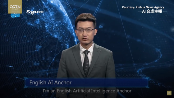 China's Xinhua News Agency released an English-speaking AI anchor last year in March. [XINHUA]