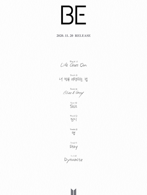 The tracklist image of ″BE (Deluxe Edition)″ to drop on Nov. 20 revealed on Wednesday [BIG HIT ENTERTAINMENT]