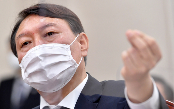 In this file photo, Prosecutor General Yoon Seok-youl speaks during a National Assembly audit of the prosecution on Oct. 22, 2020.  [YONHAP]