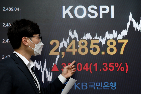 An electronic board shows the closing figure for the Kospi in a trading room in KB Kookmin Bank in Yeouido, western Seoul, on Wednesday. [NEWS 1]