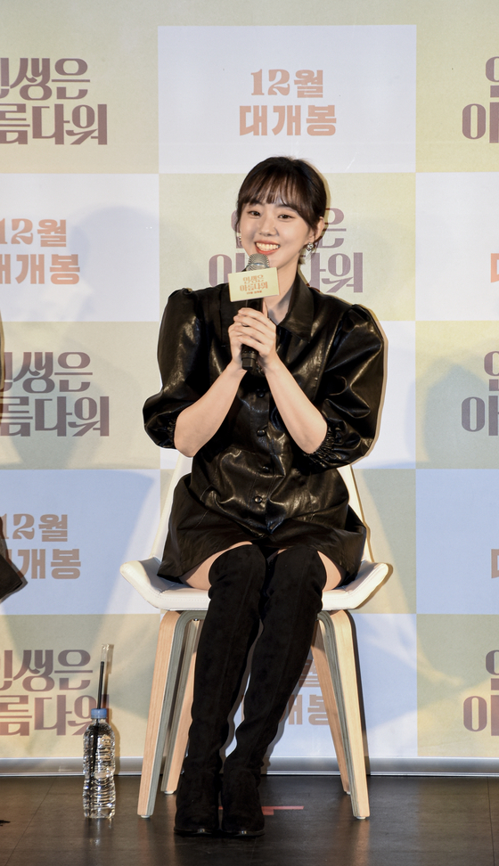 """Actor Park Se-wan is talking about 'Life is Beautiful"""" at a press event for the film on Wednesday at the Lotte Cinema Konkuk University Entrance branch. [JEON TAE-GYU]"""