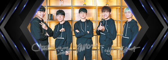 From left: Canna, Cuzz, Faker, Teddy and Effort, the five core members of the T1 League of Legends team, pose for a photo at the T1 headquarters in Gangnam, southern Seoul. [PARK SANG-MOON]
