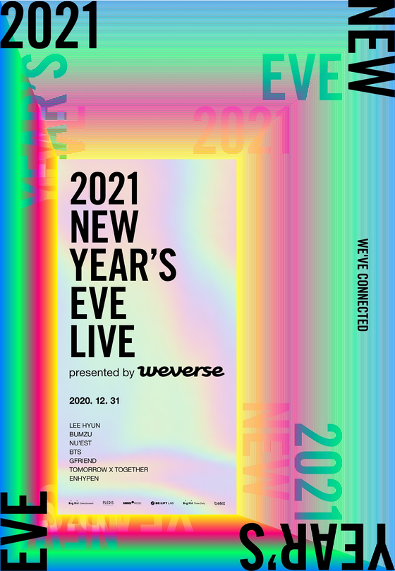 The poster image of Big Hit Entertainment's end-of-the-year concert, 2021 New Year's Eve Live, to take place on Dec. 31. [BIG HIT ENTERTAINMENT]