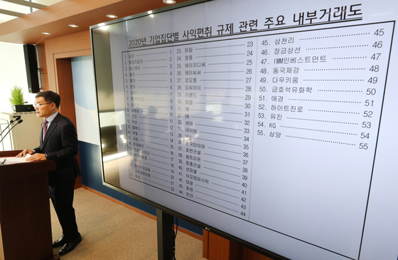 FTC director Sung Kyung-jae, announces its study on conglomerates internal transactions at the FTC headquarters in Sejong on Nov. 12. [YONHAP]