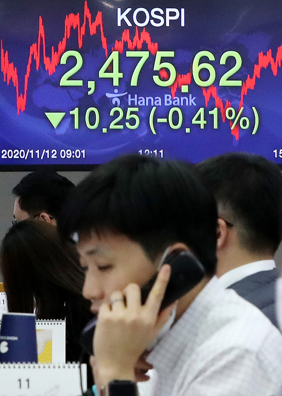 A screen shows the closing figure for the Kospi in a trading room in Hana Bank in Jung District, central Seoul, on Thursday. [NEWS 1]