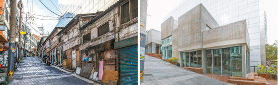 """Jungnim Changgo in Jungnim-dong, before and after renovation. The building is one of eight so-called 'anchor facilities"""" near Seoul Station, where nearby residents gather to socialize and participate in cultural activities sponsored by the Seoul Metropolitan Government. [URBAN REGENERATION CENTER OF THE SEOUL METROPOLITAN GOVERNMENT]"""