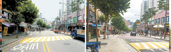 Jungnim-ro, before and after renovations. The majority of Seoul's 60 billion won ($53 million) budget for regeneration projects in the Seoul Station area went toward renovating streets and alleys. [ URBAN REGENERATION CENTER OF THE SEOUL METROPOLITAN GOVERNMENT]