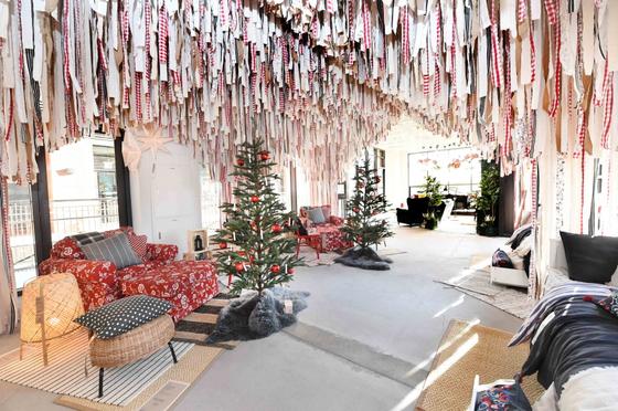 Ikea Lab displays christmas tree ornaments made of leftover fabric. [IKEA KOREA]