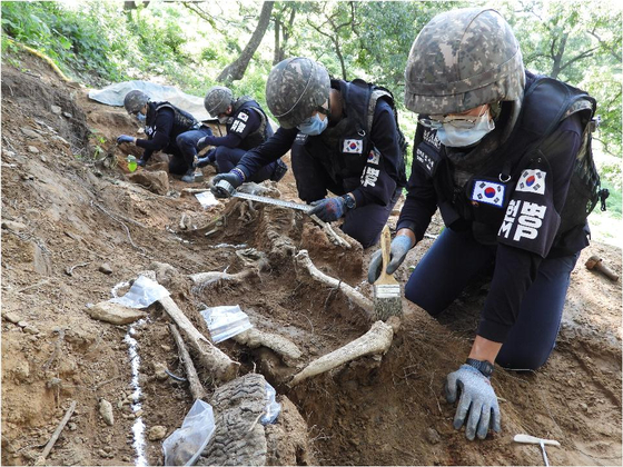 South Korean soldiers in April excavate the remains of troops who died in a battle at Arrowhead Ridge inside the present-day demilitarized zone during the 1950-53 Korean War. [MINISTRY OF NATIONAL DEFENSE]