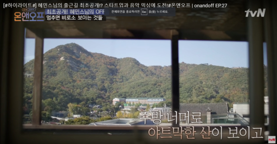 Mount Namsan comes into view from monk Haemin's house. [YOUTUBE CAPTURE]