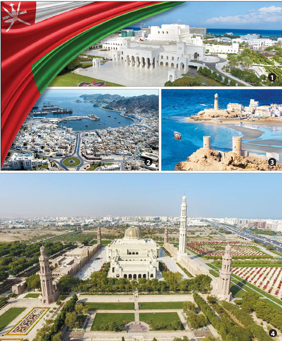 The Royal Opera House in Muscat. Sultan Qaboos Port in Muttrah. Sur, a costal city in northeastern Oman. The Grand mosque in Muscat, the capital of Oman. [EMBASSY OF OMAN]