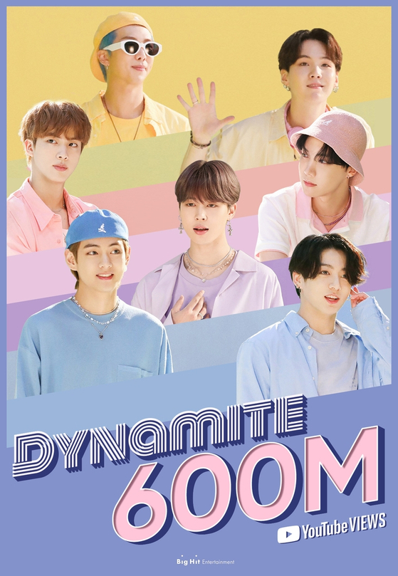 """A promotional image celebrates the 600-million-YouTube-view milestone reached on Tuesday by the K-pop boy band BTS's official music video for its latest single """"Dynamite."""" [BIG HIT ENTERTAINMENT]"""