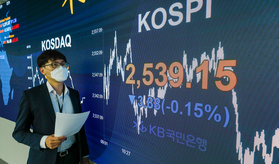 A screen shows the closing figure for the Kospi in a trading room in KB Kookmin Bank in Yeouido, western Seoul, on Tuesday. [NEWS 1]