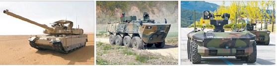 From left: K2 battle tank, wheeled armored vehicle, HR-Sherpa. [HYUNDAI ROTEM]