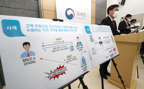 National Tax Services officials on Tuesday at the government complex in Sejong announces investigation on 85 people in their 20s and 30s suspected of dodging taxes in the process of buying apartments. [YONHAP]