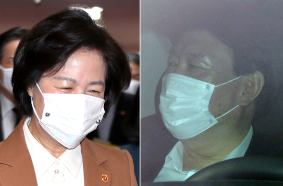 Justice Minister Choo Mi-ae, left, and Prosecutor General Yoon Seok-youl, right. The two are embroiled in an ongoing public feud. [YONHAP]
