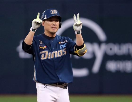Chi Seok-hoon celebrates after scoring his first-ever RBI during Game 4 of the Korean Series against the Doosan Bears at Gocheok Sky Dome in western Seoul on Saturday. [YONHAP]
