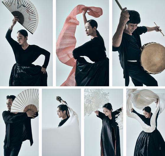 "Clockwise from top left: Kim Won-gyoung's ""Geumhyangmu,"" Park Young-ae's ""Salm-puri,"" Park Jae-soon's ""Bodeum-go,"" Cho Soo-jung's ""Sansumukjuk,"" Jung Hyun-sook's ""Simhyangjijeonmu,"" Lee So-jung's ""Puneori"" and Yoon Seong-cheol's ""Sansan, Susu."" [STUDIO79]"