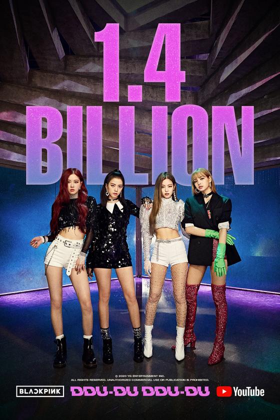 Girl group Blackpink's music video for ″Ddu-du Ddu-du″ (2018) surpasses 1.4 billion views on Monday morning. [YG ENTERTAINMENT]