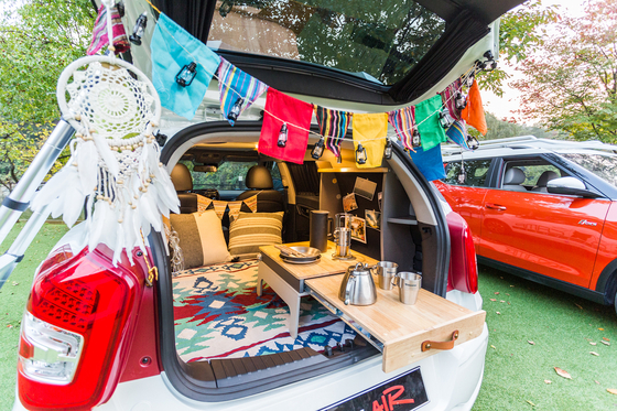 Luggage space for SsangYong Motor's Tivoli Air being used for camping purposes. [SSANGYONG MOTOR]