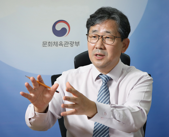 Park Yang-woo, minister of culture, sports and tourism, talks about the ministry's vision for the nation's cultural sectors which were hit hard by the pandemic, at the ministry's office in central Seoul. [PARK SANG-MOON]