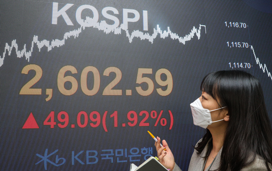 A screen shows the final figure for the Kospi in a dealing room in KB Kookmin Bank in Yeouido, western Seoul, on Monday. The Kospi marked the highest point, surpassing 2,600, since January 2018. [NEWS 1]
