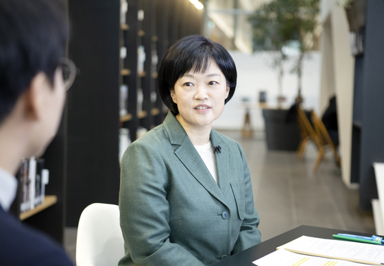 Naver CEO Han Seong-sook speaks during an online media event on Tuesday. [NAVER]