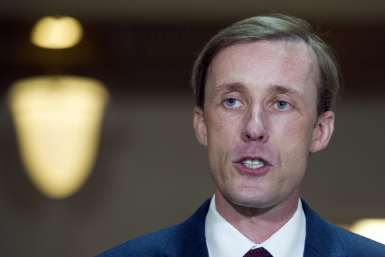 Former Hillary Clinton aide Jake Sullivan speaks to reporters on Capitol Hill in Washington in September 2016. Sullivan was designated as Biden's national security adviser. [AP/YONHAP]