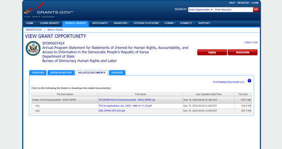 A screenshot of the U.S. government's grants application website showing a State Department notice offering funding for organizations seeking to promote human rights in North Korea. [SCREEN CAPTURE]