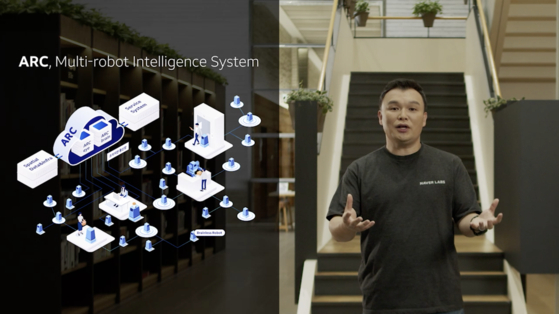 Naver Labs CEO Seok Sang-ok introduces the concept of ARC, a multi-robot intelligence system, that would work as the central brain for multiple robots at Naver's second office in Bundang, Gyeonggi. [NAVER]