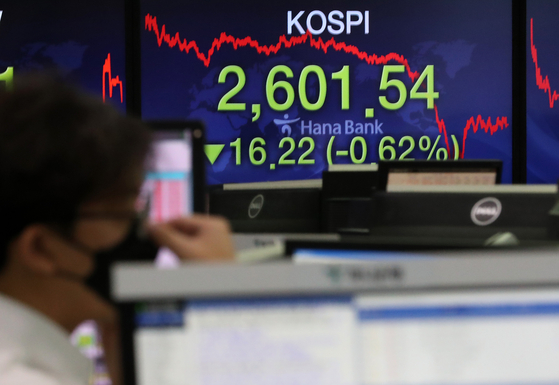 A screen shows the final figure for the Kospi in a dealing room in Hana Bank in Jung Distrct, central Seoul, on Wednesday. [NEWS1]