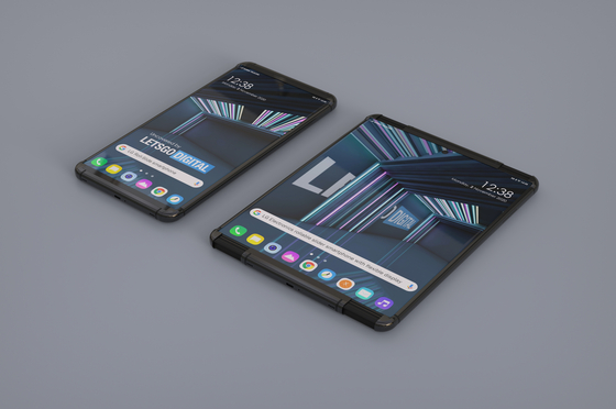 Renderings created by LetsGoDigital for a possible LG Electronics rollable phone. [LETSGODIGITAL]
