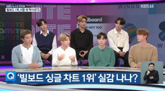 BTS appears on KBS News on Sept. 10 to share its thoughts on having won the first No. 1 spot on the Billboard Hot 100 singles chart with ″Dynamite.″ [KBS]