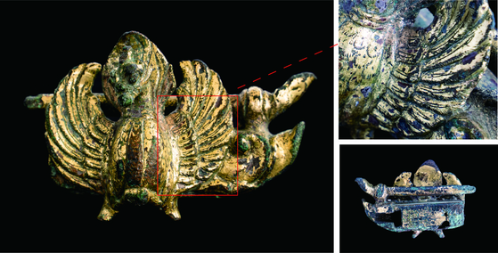 A gilt-bronze phoenix padlock of the Unified Silla (668-935) period has been recently excavated in Gyeongju, North Gyeongsang. [CULTURAL HERITAGE ADMINISTRATION]