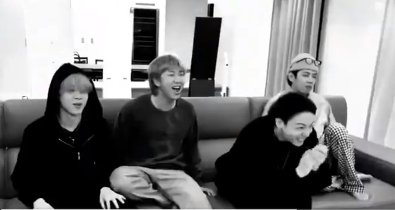 A captured image from BTS's video while members react to the Grammy nomination news on Wednesday morning [SCREEN CAPTURE]
