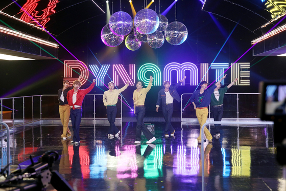 BTS performs its song ″Dynamite″ for the ″BTS Week″ held by American TV channel NBC's ″The Tonight Show Starring Jimmy Fallon″ held from Oct. 2 to 6. [BIG HIT ENTERTAINMENT]