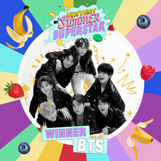 BTS is voted as MTV's Hottest Summer Superstar for the second consecutive year. [MTV]