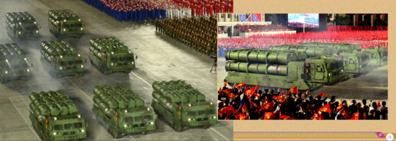 Scenes from last month's military parade in Pyongyang. [SCREEN CAPTURE]