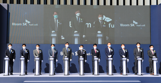 The opening ceremony is held for the Bloom SK Fuel Cell solid oxide fuel cell production factory in Gumi, North Gyeongsang, on Oct. 20. [SK ENGINEERING & CONSTRUCTION]